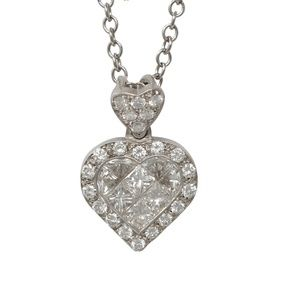 Gold Heart Diamond Pendant With 1 Ct C31000105